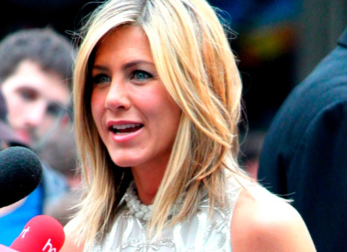 "Actress Jennifer Aniston is shown in London touting the release of the movie ""Horrible Bosses."""