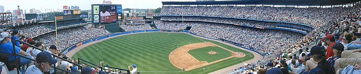A panoramic shot of Atlanta's Turner Field in 2006, which was originally the Centennial Olympic Stadium when it opened in 1996. The Braves are leaving the stadium for the suburbs, and the new tenant may reconfigure it for college football.
