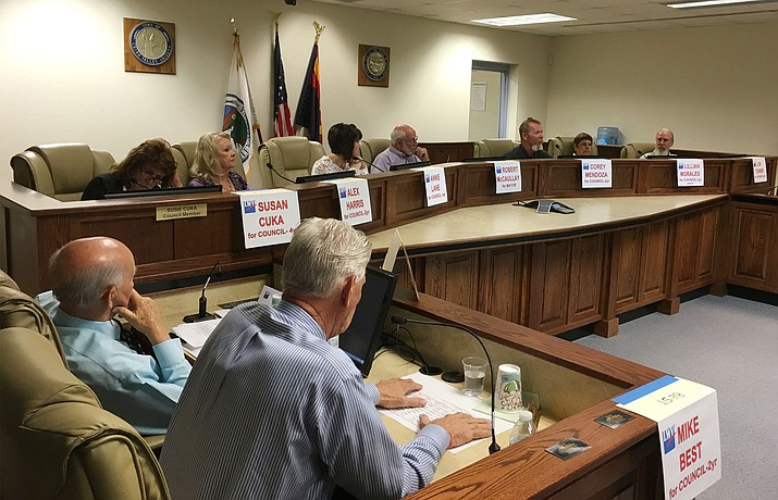 Candidates for the Chino Valley Town Council answered questions from voters at a forum held Wednesday, July 27 at Town Hall. Nine of the ten candidates appeared. Most questions centered on the town's lack of infrastructure and the possibility of obtaining the money needed to add it without raising taxes.