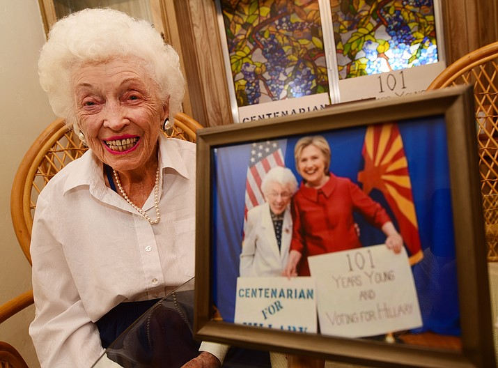Jerry Emmett, the 102-year-old Prescott resident who went to the Democratic National Convention.  (Les Stukenberg/The Daily Courier)