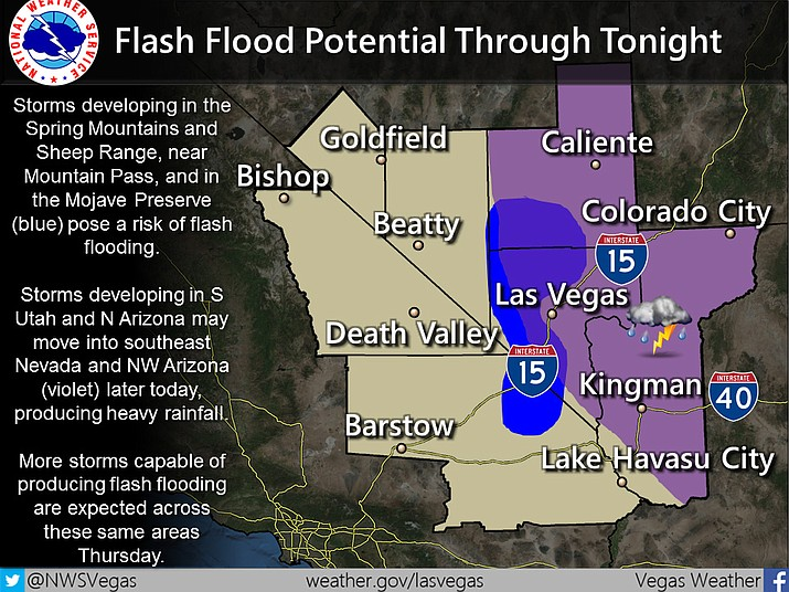 Courtesy The National Weather Service has issued a flash flood watch for a wide swath of the Southwest, including the Kingman area.
