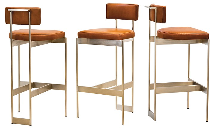 Dennis Miller Associates' Alto stool has a trim sculptural steel frame that you can get in a variety of finishes, including polished or satin nickel, brass and pewter. The low profile yet comfy seat, or saddle, looks great in caramel-hued leather, but can be custom upholstered.