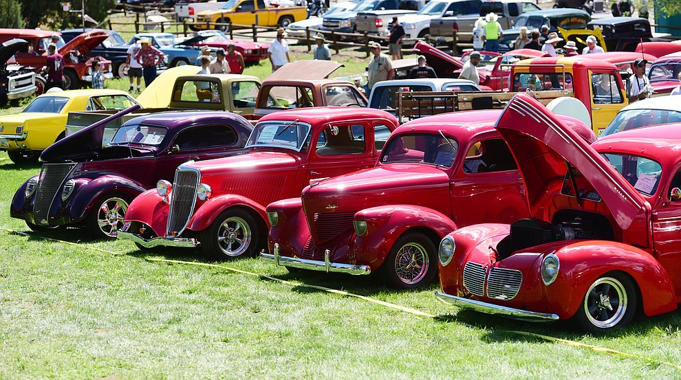 Hundreds of cars, trucks, and parts vendors line up at the 42nd Annual Prescott Antique Auto Club show at Watson Lake Park Saturday. The show continues all day on Sunday.  (Les Stukenberg/The Daily Courier)