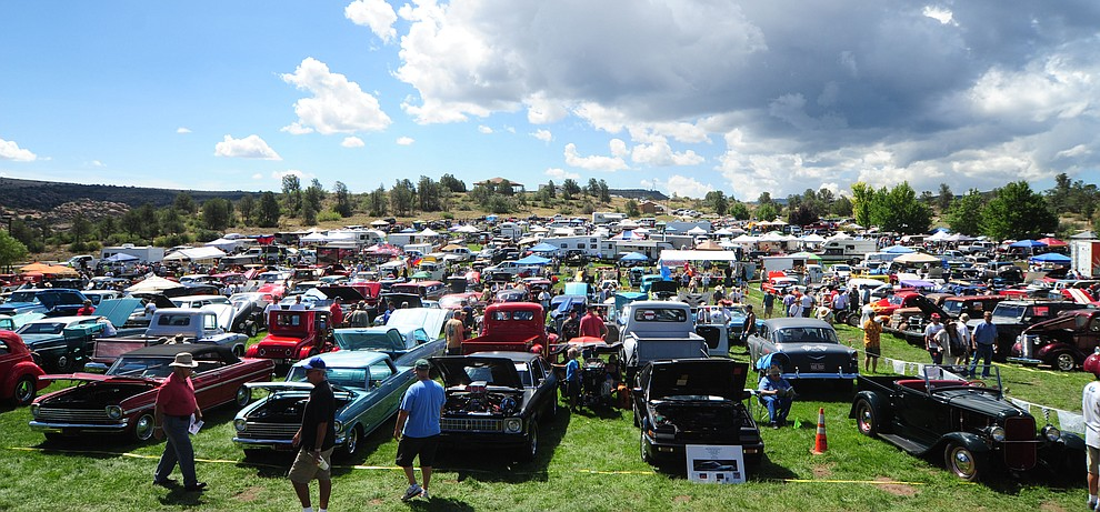 Hundreds of cars, trucks, and parts vendors at the 42nd Annual Prescott Antique Auto Club show at Watson Lake Park Saturday. The show continues all day on Sunday.  (Les Stukenberg/The Daily Courier)