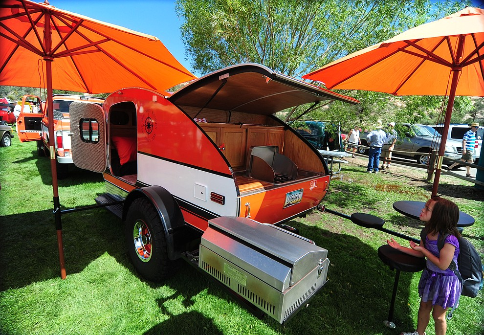 This custom built tear-drop camper trailer was just one of hundreds of cars, trucks, and parts vendors at the 42nd Annual Prescott Antique Auto Club show at Watson Lake Park Saturday. The show continues all day on Sunday.  (Les Stukenberg/The Daily Courier)