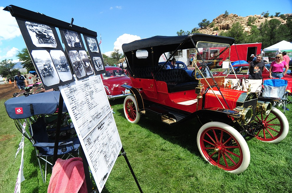 This 1910 Ford was a hit among the hundreds of cars, trucks, and parts vendors at the 42nd Annual Prescott Antique Auto Club show at Watson Lake Park Saturday. The show continues all day on Sunday.  (Les Stukenberg/The Daily Courier)