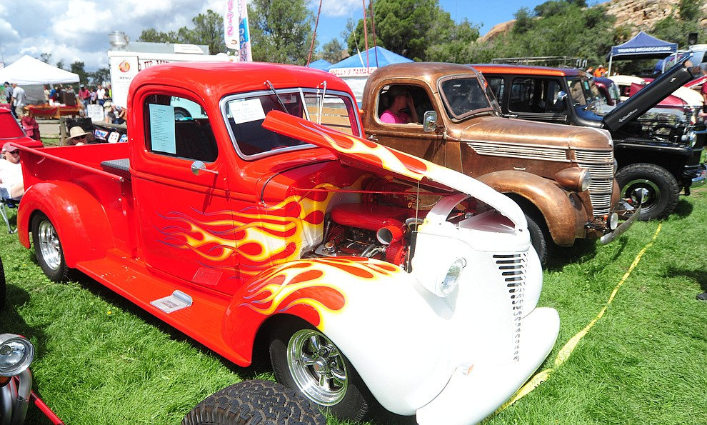 Part of truck row featured this 1939 Chevrolet pickup as hundreds of cars, trucks, and parts vendors at the 42nd Annual Prescott Antique Auto Club show at Watson Lake Park Saturday. The show continues all day on Sunday.  (Les Stukenberg/The Daily Courier)