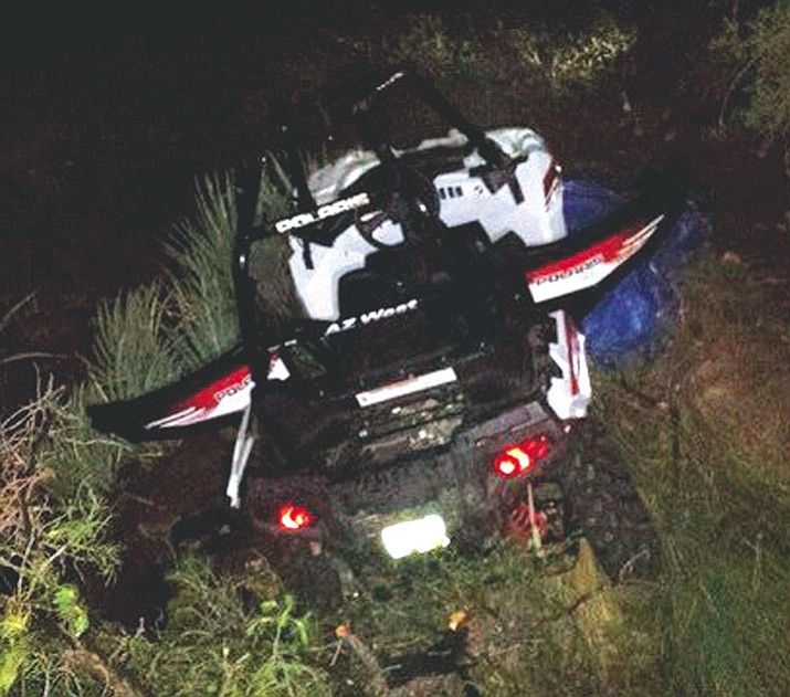 A Lake Havasu City man sustained serious injuries after losing control of this ATV in the mountains Monday night. (Courtesy)
