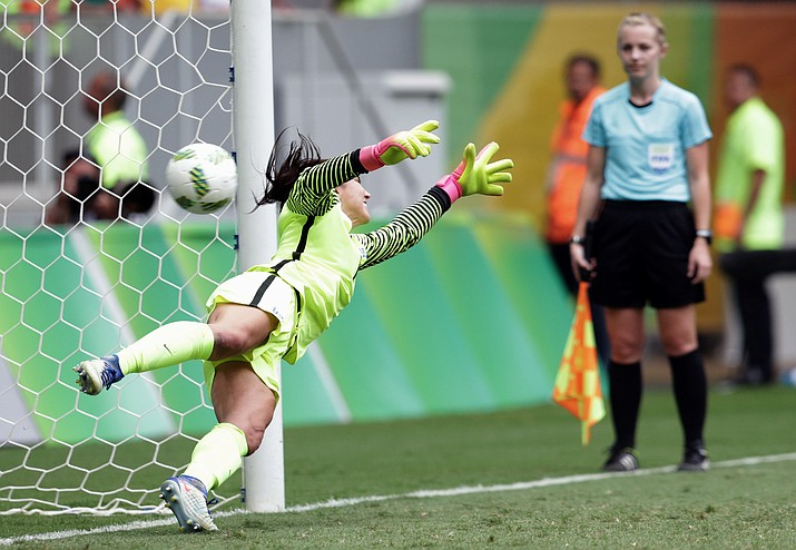 United States goalkeeper Hope Solo fails to stop a penalty during a penalty shoot-out in the quarter-final match of the women's Olympic football tournament between the United States and Sweden in Brasilia Friday Aug. 12. The United States was eliminated by Sweden after a penalty shoot-out.
