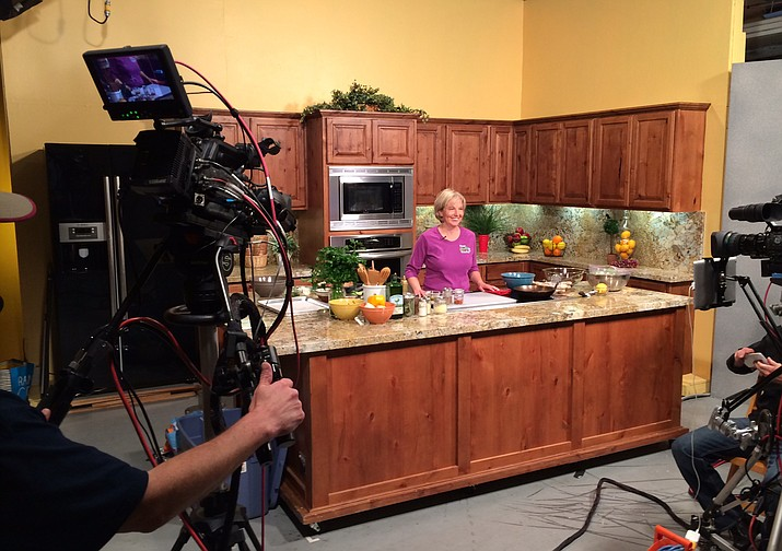 Rita Carey-Rubin in the YRMC kitchen. She promotes healthy eating with recipes that incorporate lots of fruits, vegetables, unprocessed foods and sugar-free beverages.