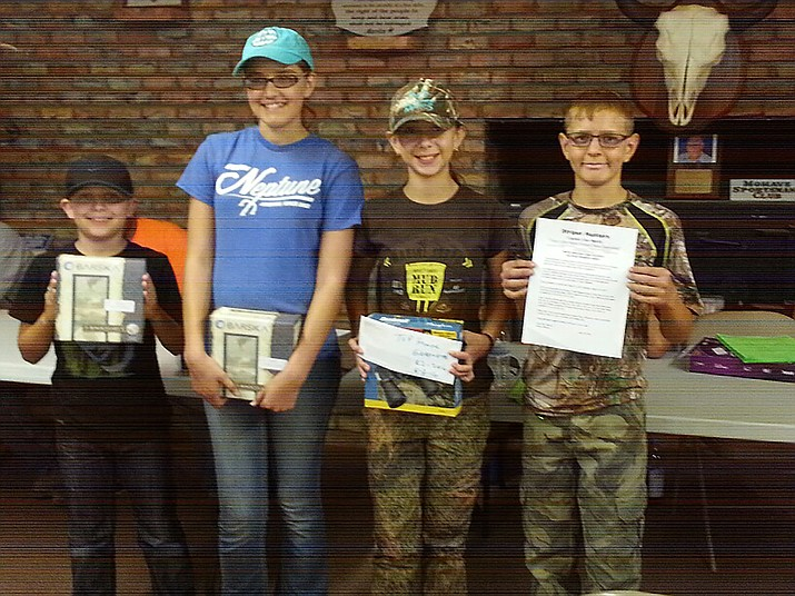 "Award winners at the recent Hunter Education class included (L-R) Jackson (""Jack"") Divis, 100 percent on the final exam, Rebekah Chmiel, 100 percent on the final exam, Aryana Thayer, Top Honor graduate and Billy Chmiel, Good Student Award winner."