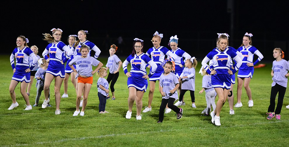 Chino Valley Cheerleaders had a lot to cheer about as the as the Chino Valley Cougars hosted the Camp Verde Cowboys to open the 2016 AIA football season Friday, August 26, 2016. (Les Stukenberg/PNI Photo)