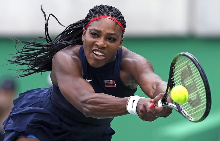Serena Williams reaches for a return Aug. 7 against Daria Gavrilova, of Australia, at the 2016 Summer Olympics in Rio de Janeiro, Brazil.