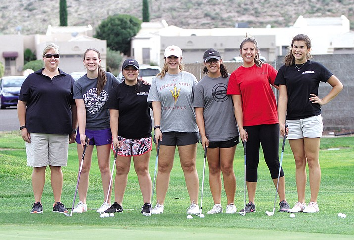 The Lee Williams High School girls golf team opened their 2016 season Monday, shooting a 200 at Cerbat Cliffs Golf Course. From left to right are coach Haley Bradley, Audra Coffman, Lilianna Robles, Claire Barker, Paige Lucero, Kadence Sterling and Kaylee Moore.
