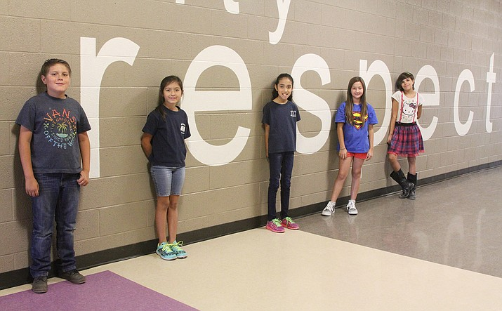 "Desert Willow Elementary School's Larson Life Skills winners in August won for ""respect."" From left to right are Elijah and Riley Ott, 10 and 8 respectively, Sophia Guzman, 8, Sively Castro, 10, and Caidance Sandoval, 10. Ken Lawson also won but was not present for the photo."