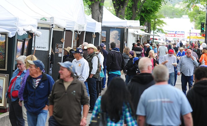 Arts and crafts shows on the courthouse plaza are a staple of downtown Prescott from Mother's Day and into October. One of the most popular - Faire on the Square - coincides with the end of summer, Labor Day weekend.