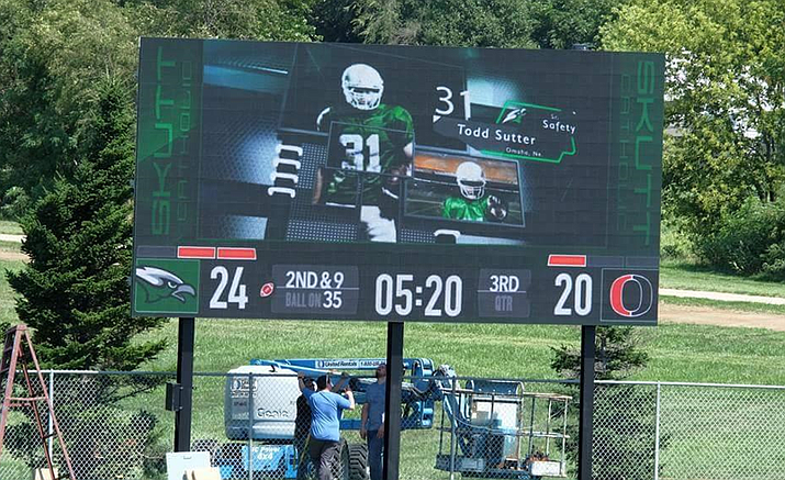 A scoreboard installation in August at Skutt High School in Omaha, Neb., is similar to the one going in at Prescott High.