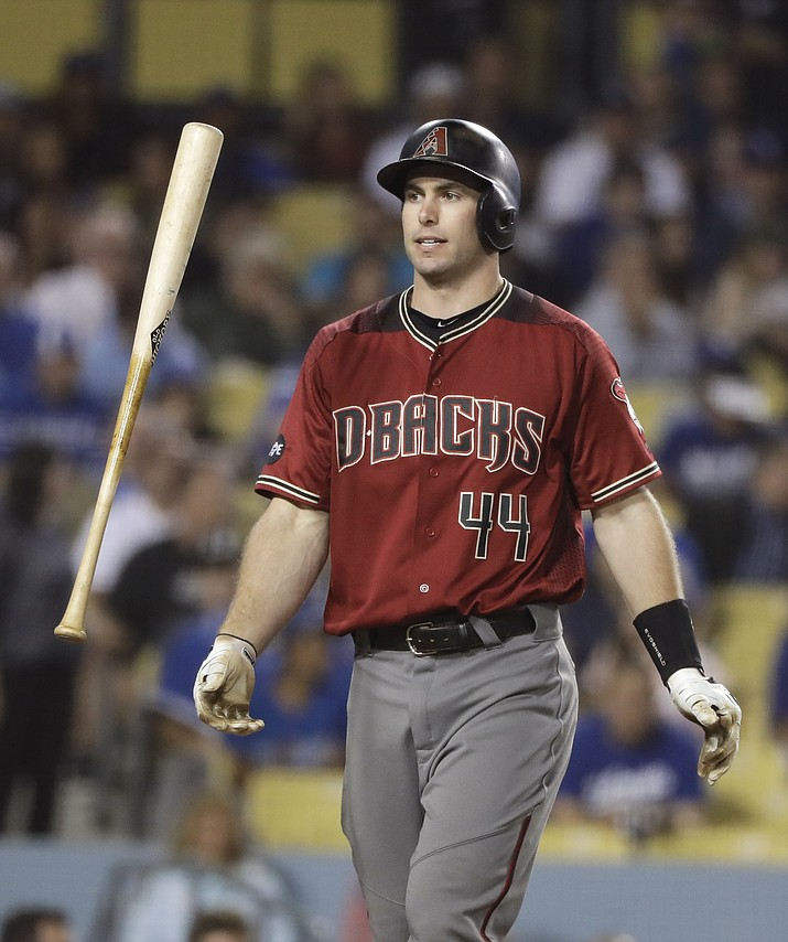 Arizona Diamondbacks' Paul Goldschmidt tosses his bat after striking out during the fifth inning of a baseball game against the Los Angeles Dodgers, Wednesday, Sept. 7, in Los Angeles.
