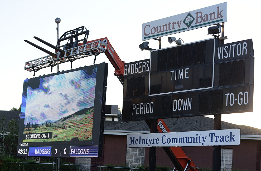 Prescott has a temporary digital scoreboard in place before the Badgers take on Cactus Shadows Friday night in Prescott. (Les Stukenberg/The Daily Courier)