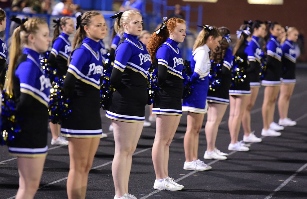 Prescott's cheerleaders didn't have much to cheer about in the first half as the Badgers take on Cactus Shadows Friday night in Prescott. (Les Stukenberg/The Daily Courier)