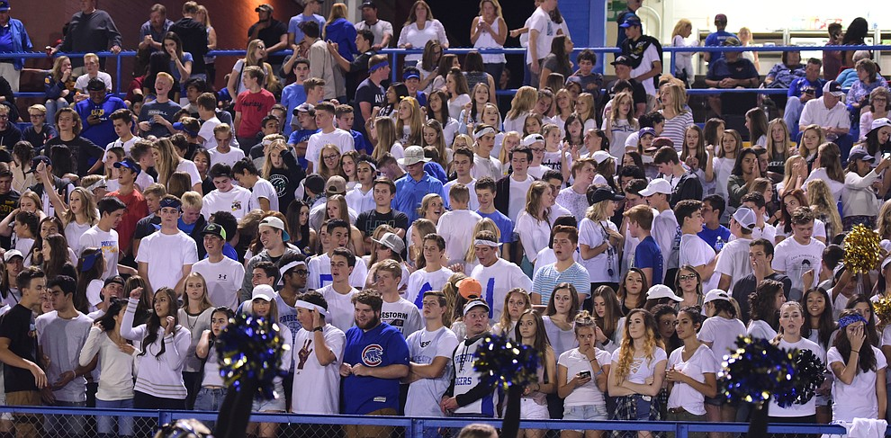 Prescott students were pretty quiet in the first half as the Badgers take on Cactus Shadows Friday night in Prescott. (Les Stukenberg/The Daily Courier)