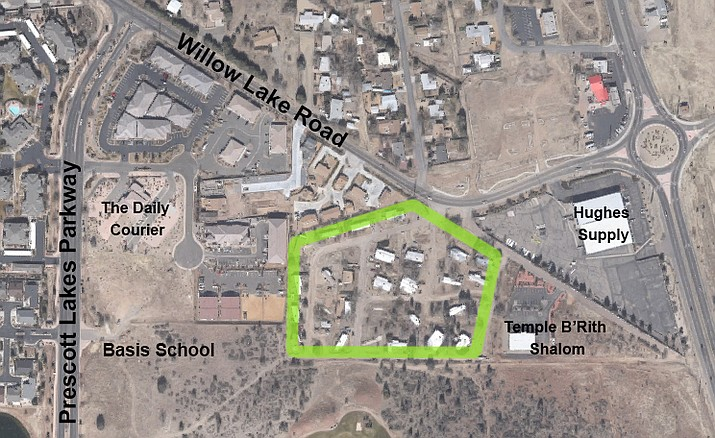 One of the housing projects going before the City Council on Tuesday is a 200-unit multi-family apartment complex (shown with a green border) near the intersection of Willow Lake Road and Highway 89; it's currently the Dells View Mobile Home Park.