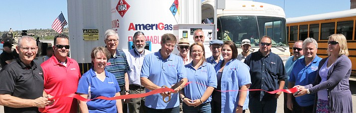 Amerigas, formerly Flame Propane, celebrated its new branding Friday, Sept. 9, with a Chamber of Commerce ribbon-cutting.