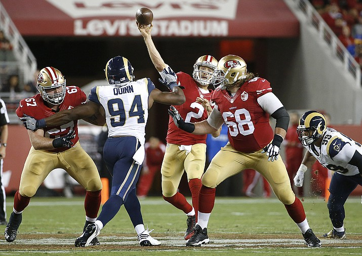 San Francisco 49ers quarterback Blaine Gabbert (2) passes against the Los Angeles Rams during the second half of an NFL football game in Santa Clara, Calif., Monday, Sept. 12.