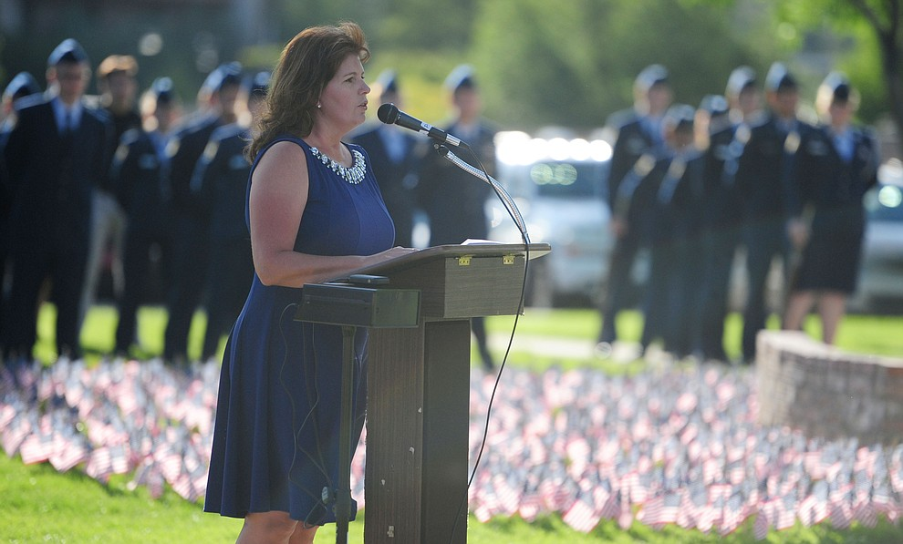 Prescott High School Principal Stephanie Hillig speaks during a 9/11 Remembrance ceremony Monday morning at Prescott High School.  (Les Stukenberg/The Daily Courier)