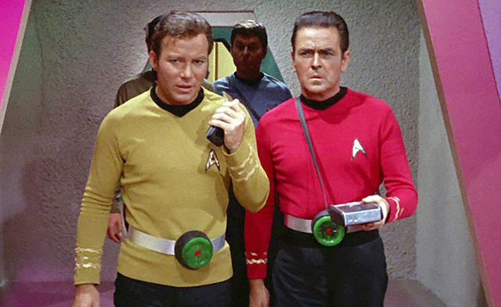 "William Shatner (Captain Kirk), left, and James Doohan (Scotty) appear in an episode of ""Star Trek."""