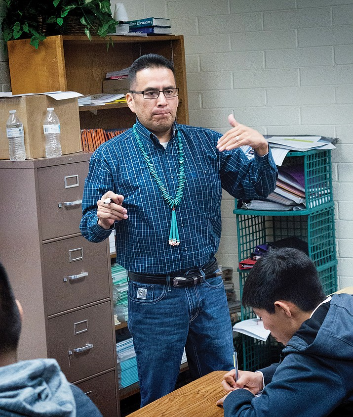 Nathan Baker teaches the Navajo language using Navajo history, traditions and culture. Todd Roth/NHO