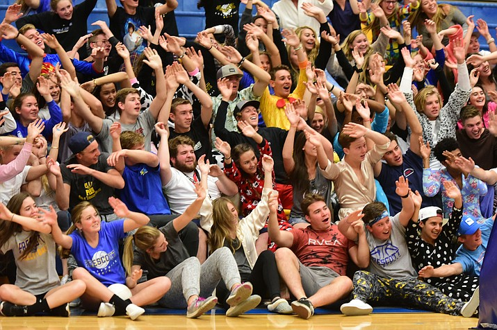 Prescott students have some fun as the Prescott Lady Badgers host the Bradshaw Mountain Lady Bears in a volleyball matchup Thursday, September 15, 2016.  (Les Stukenberg/The Daily Courier)