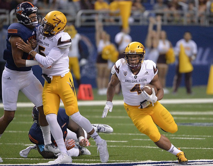 Arizona State running back Demario Richard (4) carries during the first half of an NCAA college football game against UTSA, Friday, Sept. 16, 2016, in San Antonio.
