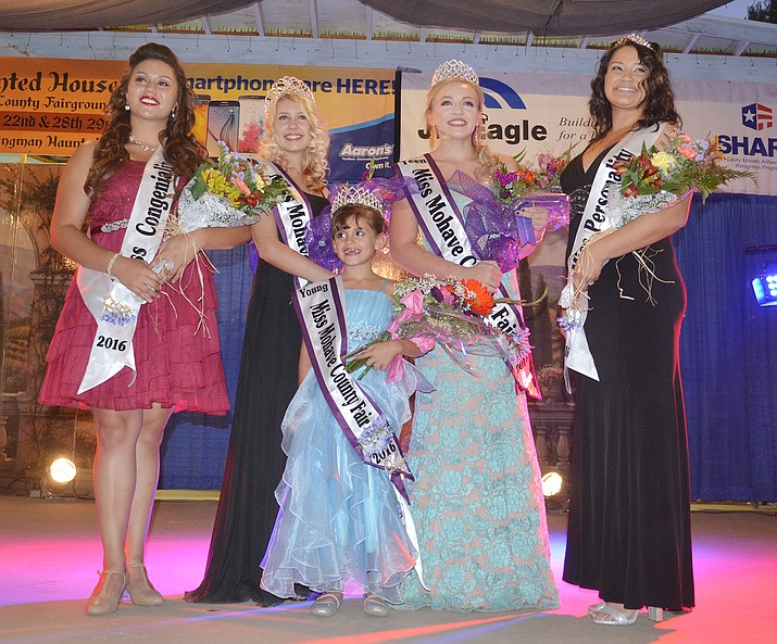 The winners at the Miss Mohave County Fair 2016 are from the left; Rosanna Volk, Miss Congeniality; Caytelyn Clinkenbeard, Miss Mohave County Fair 2016; Sandra Clark, Young Miss Mohave County Fair 2016 and Miss Talent; Jenna Nielson, Teen Miss Mohave County Fair 2016; and Bobbie Cossio, Miss Personality.