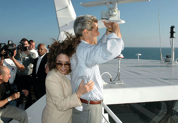 John Kerry on a high-speed ferry from Michigan to Milwaukee in 2006.