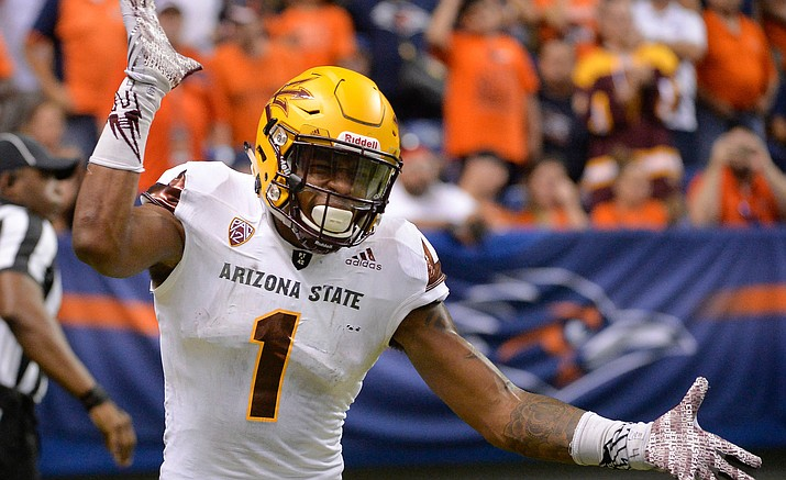 Arizona State wide receiver N'Keal Harry celebrates his touchdown reception during the second quarter against UTSA on Sept. 16 in San Antonio. The Sun Devils host California on Saturday at 7 p.m.
