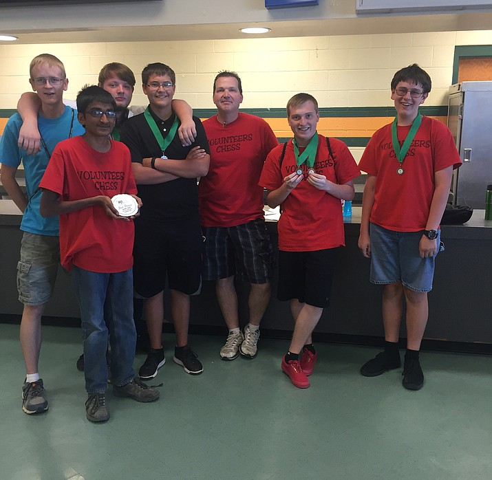 The Lee Williams chess team tied for second with Greyhills Academy at the eight-team Region I tournament, going 4-1 last Friday and Saturday in Tuba City. Flagstaff went 5-0 to win the tourament. From left to right are Joseph Scholl, Patel Dhruvil, Brian McKenzie, Zachary Romero, coach Brian Green, Nick Gross and Josh Taflan.