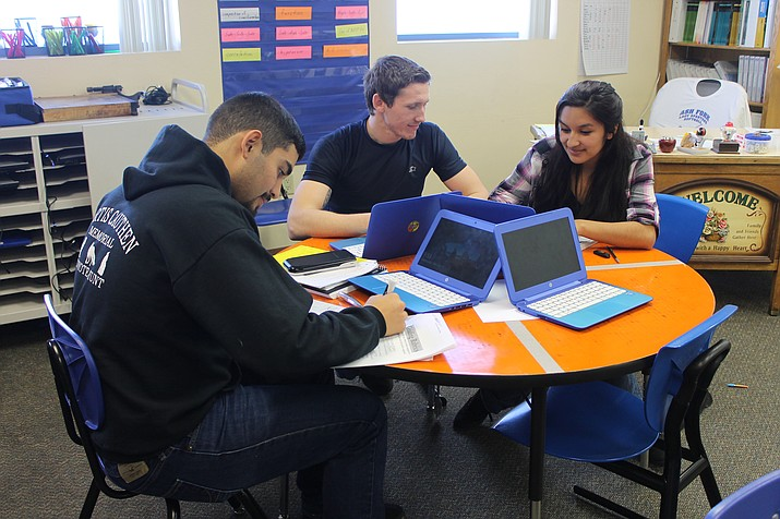 Ash Fork Unified School District math students work on an assignment. The school district received one of the highest passing rates on the AzMerit tests for rural northern Arizona schools.