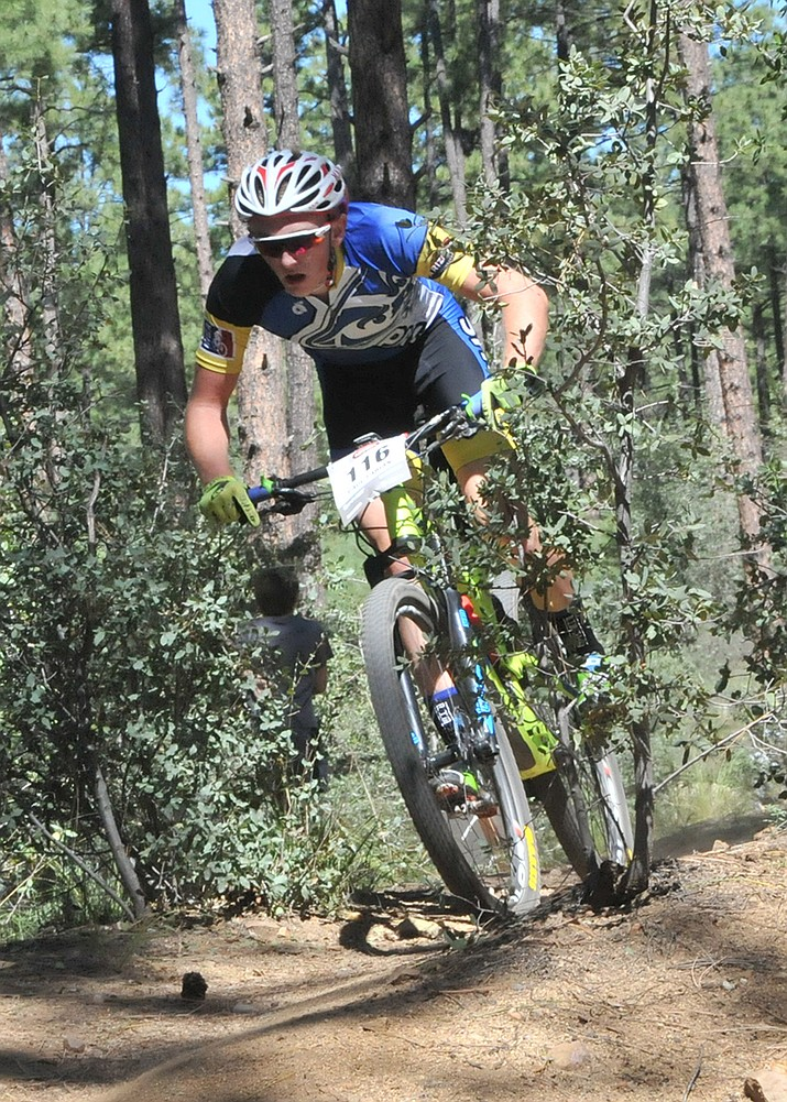 Prescott High varsity mountain biker Paul Fabian won the four-lap Arizona High School Cycling League's varsity boys' race at White Spar Campground in Prescott on Sunday, Sept. 25, with a time of 1 hour, 14 minutes and 12.63 seconds.