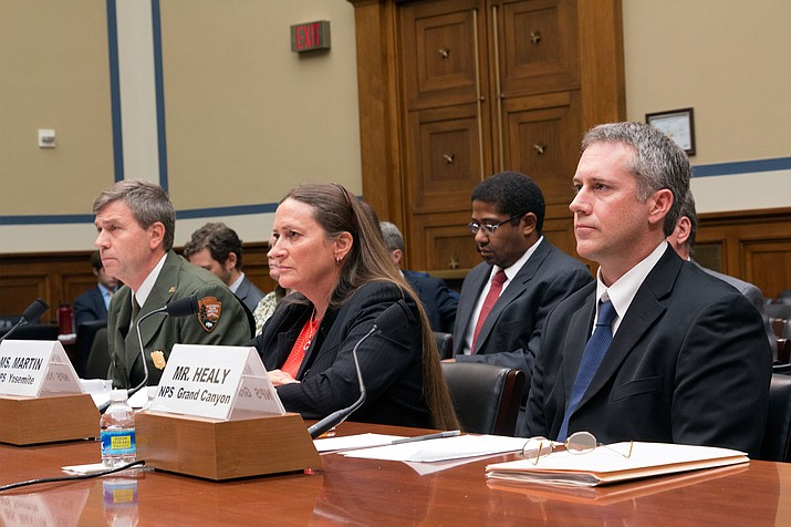 Michael Reynolds, Kelly Martin and Brian Healy, from left, told a House panel about harassment of and retaliation against workers at National Park Service sites.