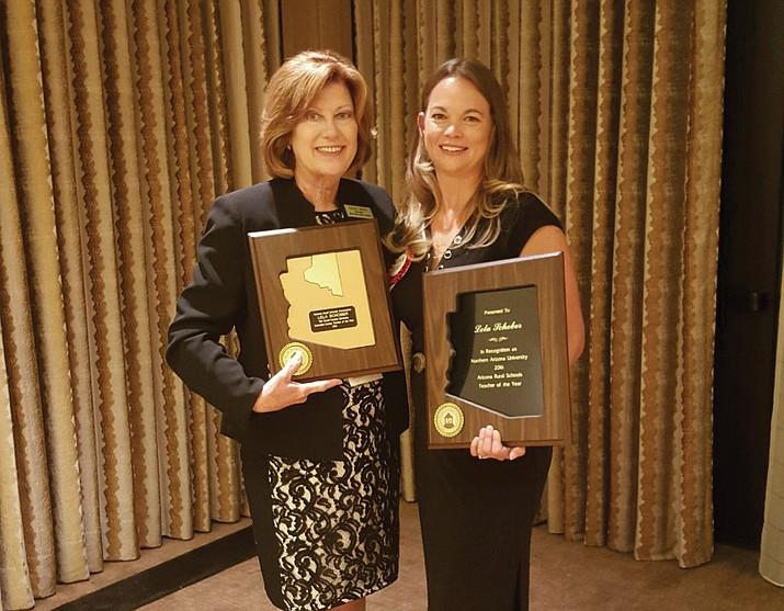 Lela Schober accepts her award as the 2016 Arizona Rural Teacher of the Year.