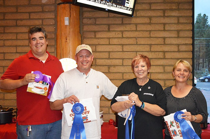 Brady Harris, second year winner of the People's Choice, John Vail - Judge's Choice Winner of Best Red Chili, Sue Winchester Judge's Choice winner and Clarinda Vail Judge's Choice winner.