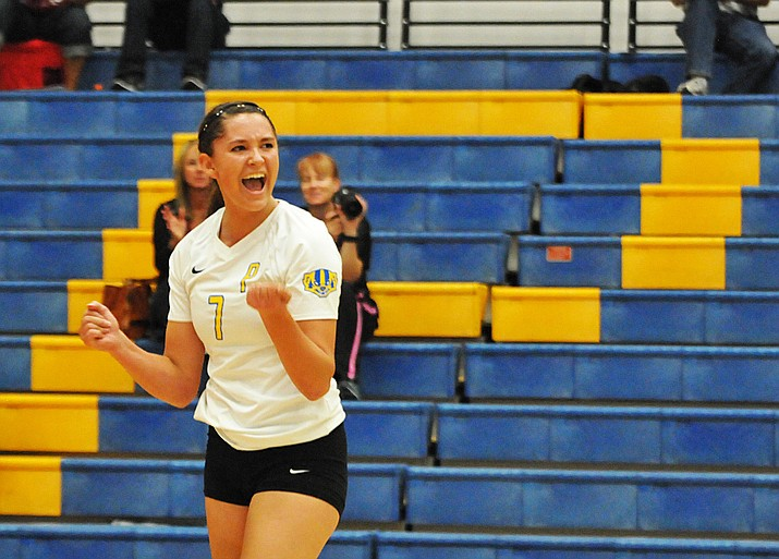 Ashlynn Uvila pumps her fists after recording a kill for the Prescott volleyball team, which lost 3-1 to rival Flagstaff on Thursday, Sept. 29. (Brian M. Bergner Jr./The Daily Courier)