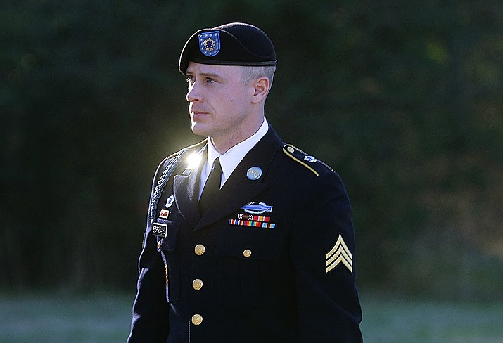 In this Jan. 12, 2016, file photo, Army Sgt. Bowe Bergdahl arrives for a pretrial hearing at Fort Bragg, N.C. Prosecutors argue that serious injuries to two soldiers who searched for Bergdahl in 2009 show that he endangered his comrades by leaving his post in Afghanistan. The motion filed this month lays out how prosecutors plan to tie the injuries into arguments that Bergdahl is guilty of misbehavior before the enemy. It's a relatively rare charge that carries up to a life sentence.