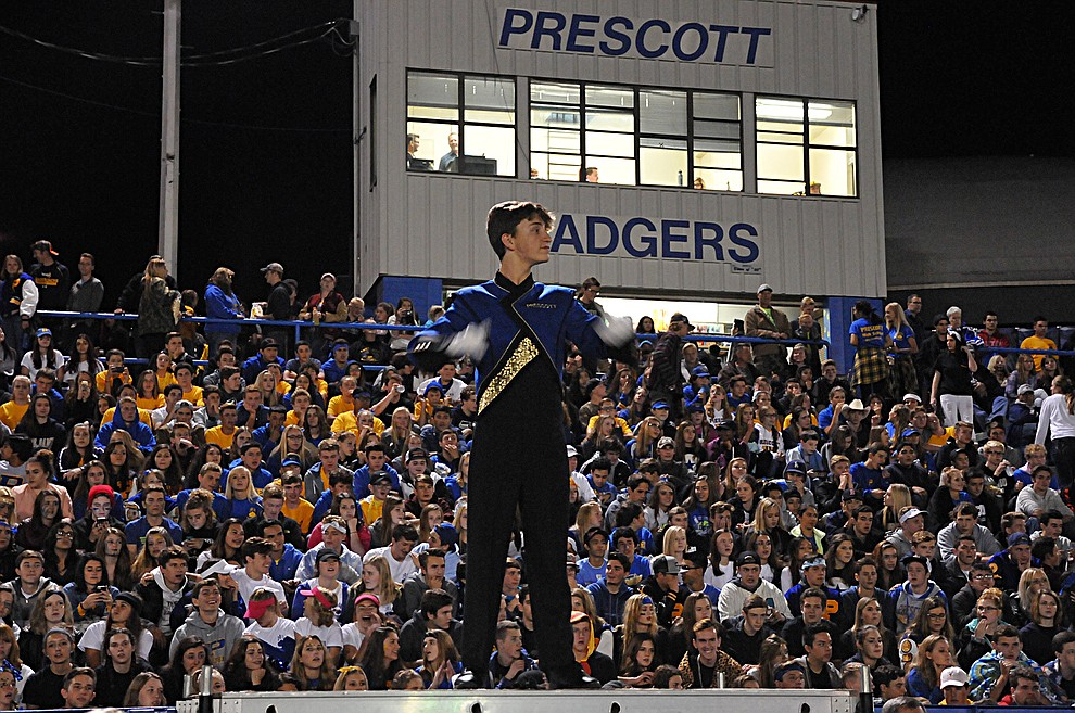 A Prescott student band member leads the halftime show at homecoming Friday, Sept. 30. Prescott (4-2, 2-0 4A Grand Canyon) earned a 43-14 win over Mohave. (Brian M. Bergner Jr./The Daily Courier)