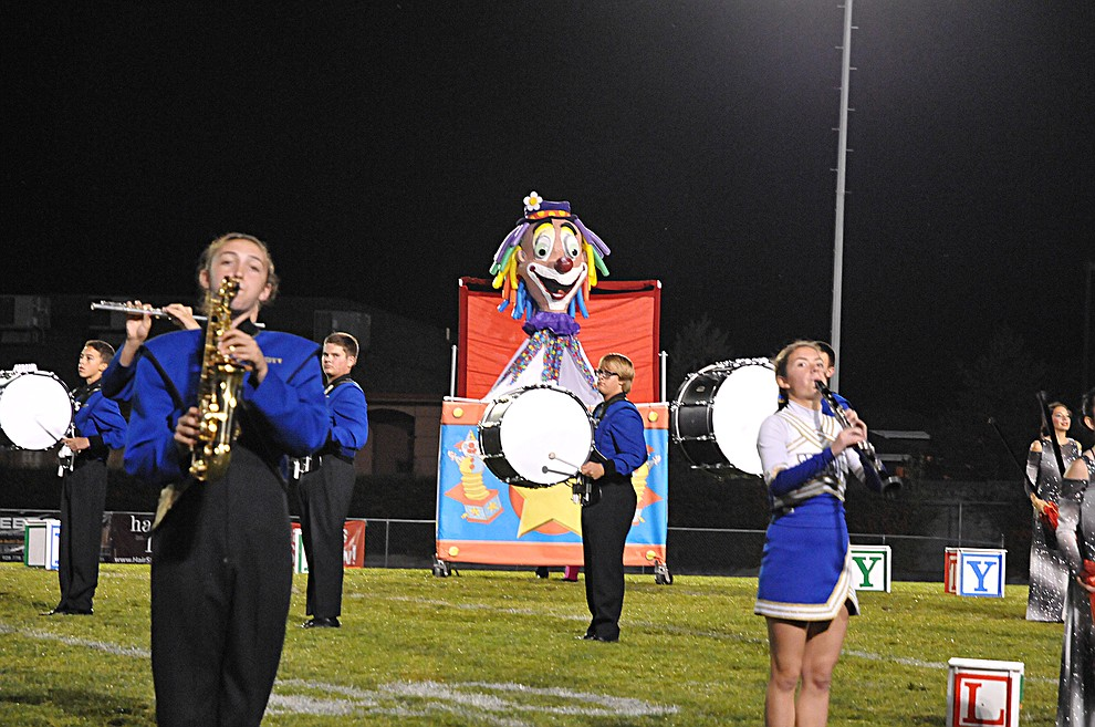 "A giant ""Jack in the Box"" pops up during the halftime show at homecoming Friday, Sept. 30. Prescott (4-2, 2-0 4A Grand Canyon) earned a 43-14 win over Mohave. (Brian M. Bergner Jr./The Daily Courier)"