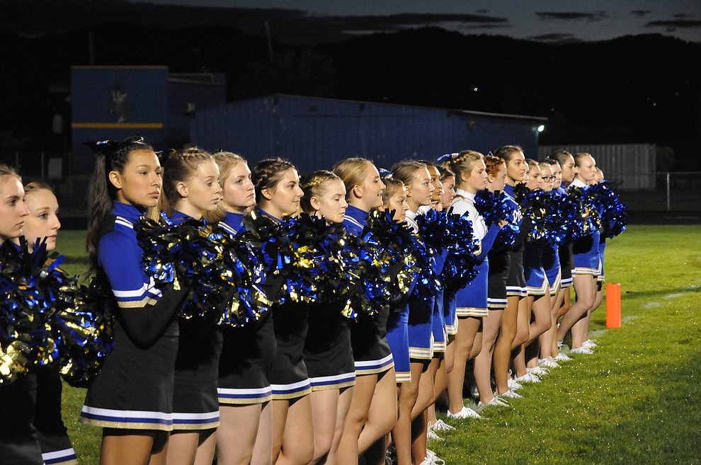 Badger cheerleaders line up for the national anthem at the 2016 Prescott High School Homecoming game Friday, Sept. 30. Prescott (4-2, 2-0 4A Grand Canyon) earned a 43-14 win over Mohave. (Brian M. Bergner Jr./The Daily Courier)
