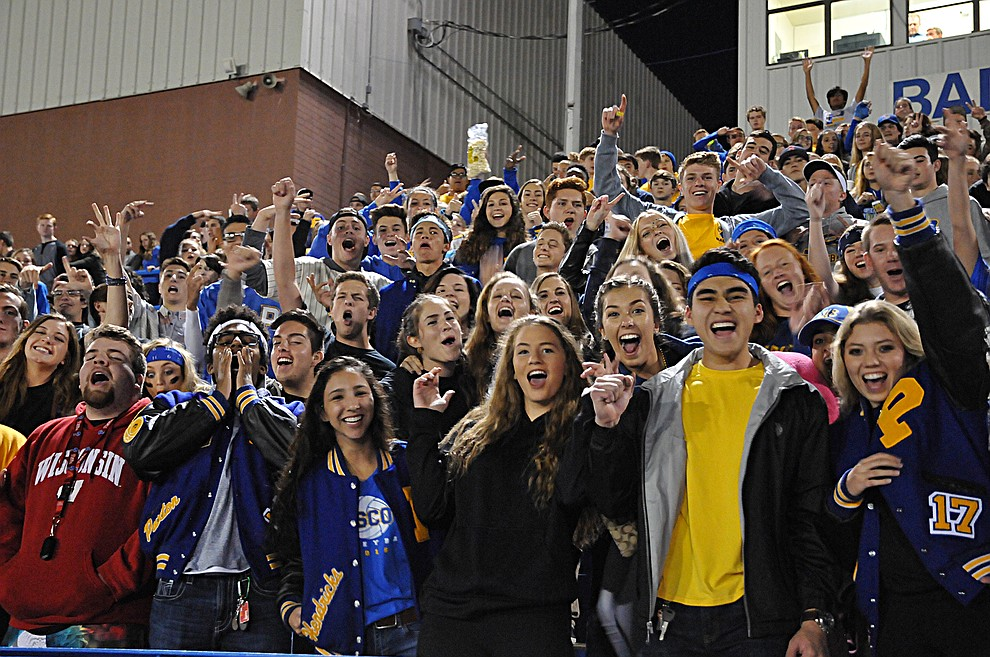 The Prescott student section cheers on the football team at homecoming Friday, Sept. 30. Prescott (4-2, 2-0 4A Grand Canyon) earned a 43-14 win over Mohave. (Brian M. Bergner Jr./The Daily Courier)