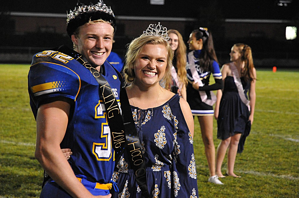 Prescott senior football player David Pearce and senior Paige Campbell were named 2016 Prescott High School Homecoming king and queen Friday, Sept. 30. (Brian M. Bergner Jr./The Daily Courier)