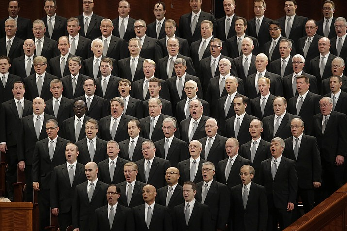 In this April 2, 2016, file photo, The Mormon Tabernacle Choir performs during the opening session of the two-day Mormon church conference in Salt Lake City. Mormons gather for a twice-yearly conference to hear spiritual guidance from top leaders during a testy presidential election and as society grapples with issues of race and sexuality.